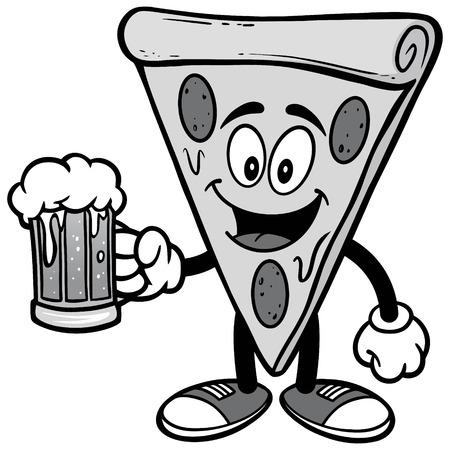 Pizza with Beer Illustration Иллюстрация