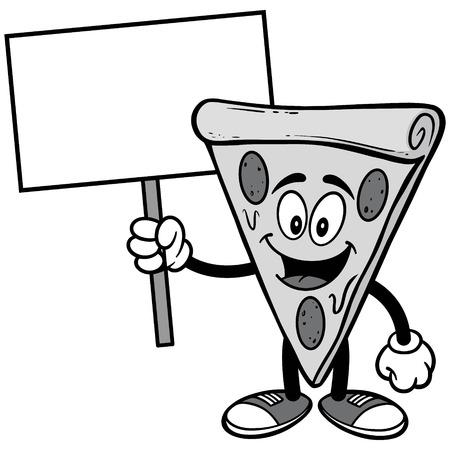 Pizza mit Schild-Illustration Standard-Bild - 85870003
