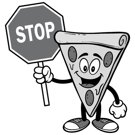 Pizza with Stop Sign Illustration Иллюстрация