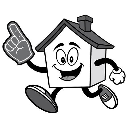 House Running with Foam Finger Illusztráció