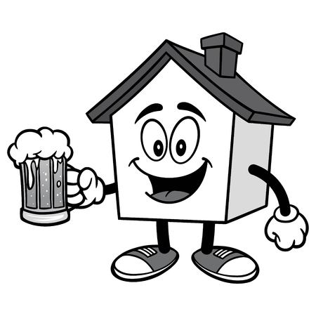 House with Beer Ilustração