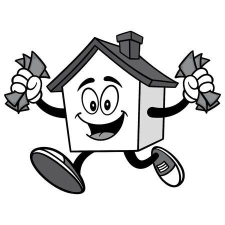 House with Money Illustration