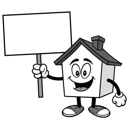 House with Sign Illusztráció