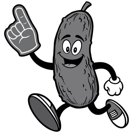Pickle Running with Foam Finger Illustration Ilustração