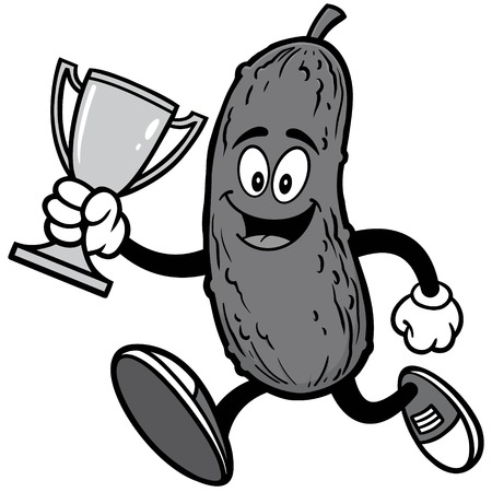 Pickle Running with Trophy Illustration Ilustrace