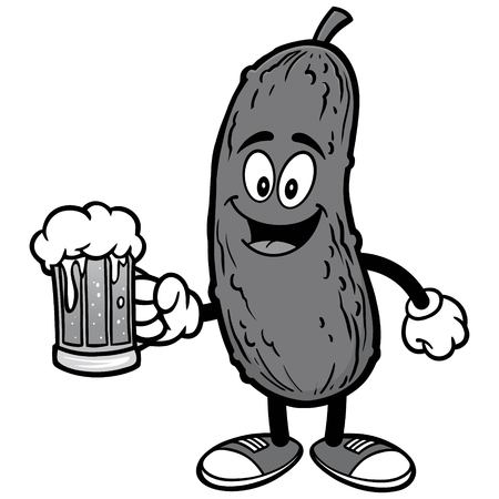 Pickle with Beer Illustration