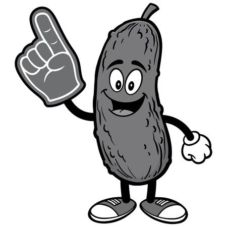 Pickle with Foam Finger Illustration