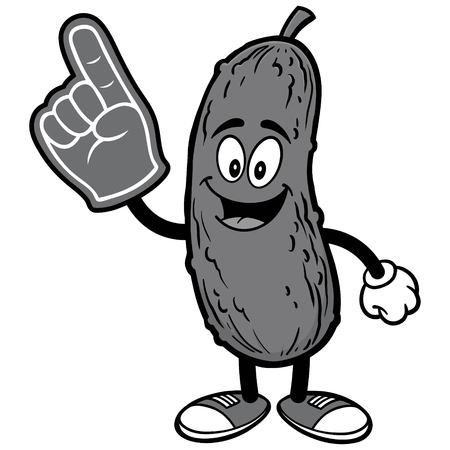 Pickle with Foam Finger Illustration
