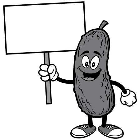 Pickle with Sign Illustration Reklamní fotografie - 87266627