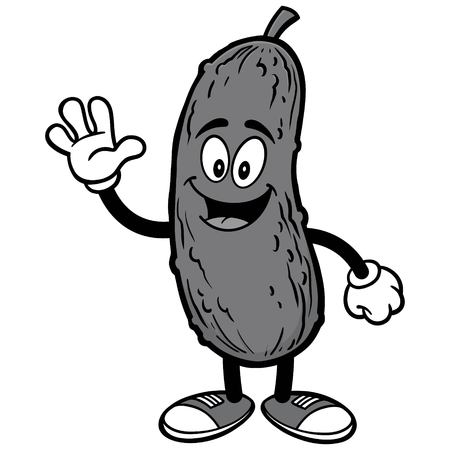 Pickle Waving Illustration
