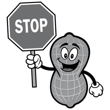 Peanut with Stop Sign Illustration