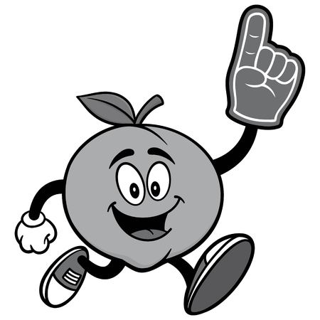 georgia: Peach Running with Foam Finger Illustration Illustration