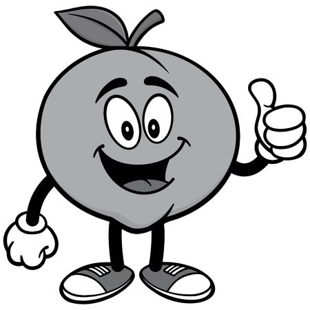 Peach with Thumbs Up Illustration 向量圖像