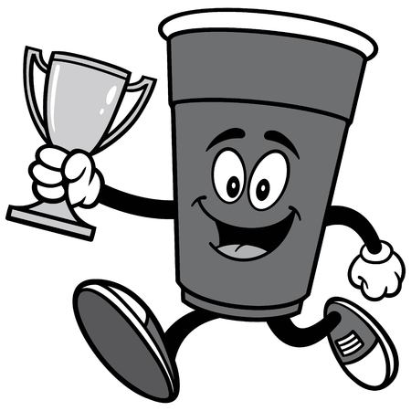 Party Cup Running with Trophy Illustration.