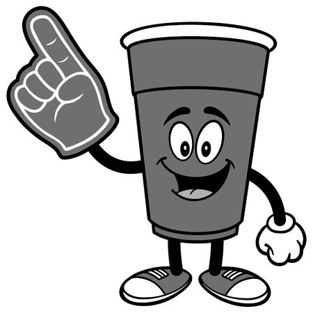 Party Cup with Foam Finger Illustration. Illustration