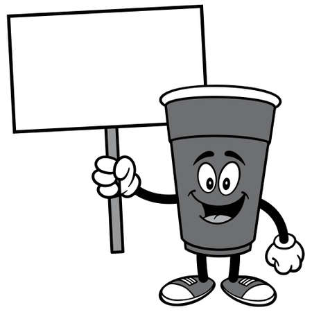 Party Cup with Sign Illustration - A cartoon illustration of a cup holding a blank Sign.