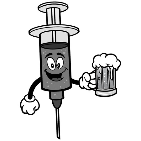 infectious: Flu Shot with Beer Illustration. Illustration