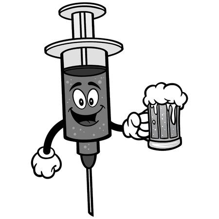 Flu Shot with Beer Illustration. Illustration