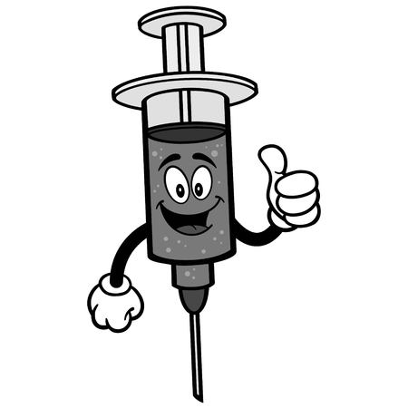 infectious: Flu Shot with Thumbs Up Illustration.
