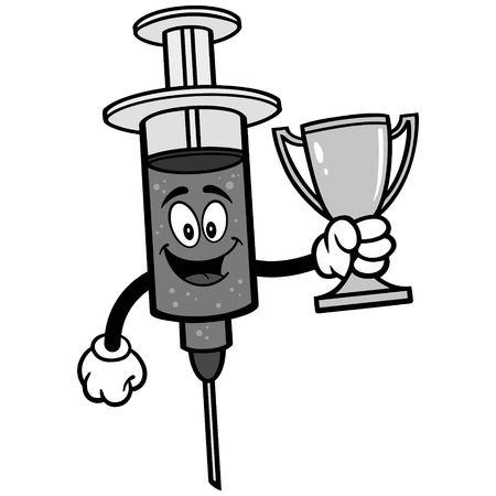 Flu Shot with Trophy Illustration.