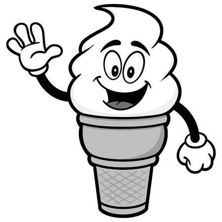 Ice Cream Waving Illustration