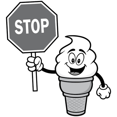 Ice Cream with Stop Sign Illustration