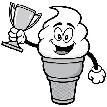 Ice Cream with Trophy Illustration Иллюстрация