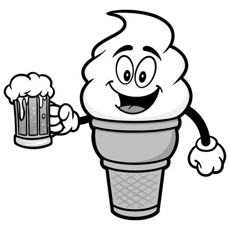 Ice Cream with Beer Illustration