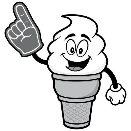 Ice Cream with Foam Finger Illustration