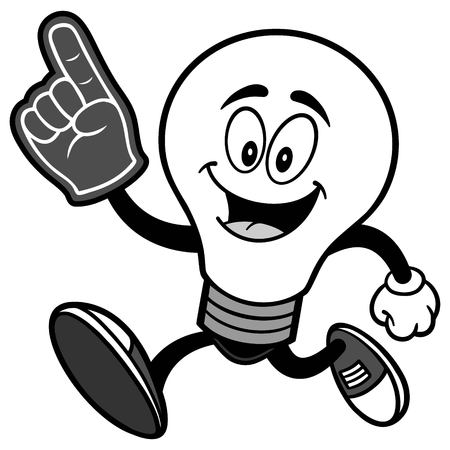 Light Bulb Running with Foam Finger Illustration
