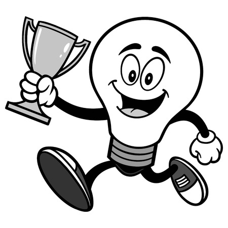 Light Bulb Running with Trophy Illustration