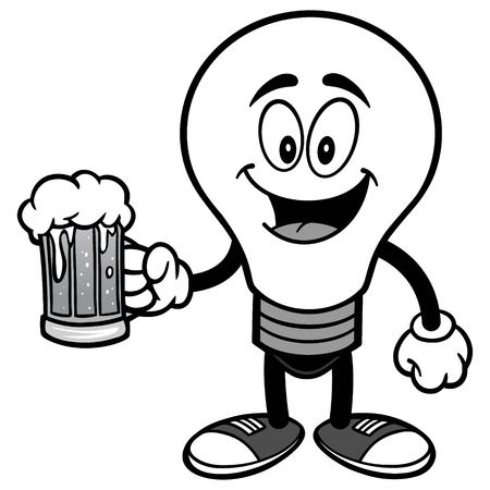 Light Bulb with Beer Illustration