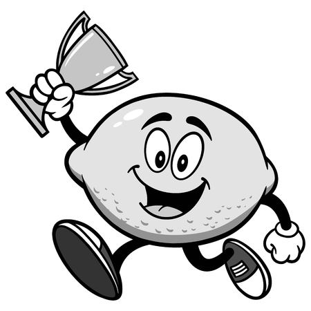 Lemon Running with Trophy Illustration