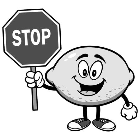 Lemon with Stop Sign Illustration
