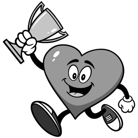 Heart Running with Trophy Illustration