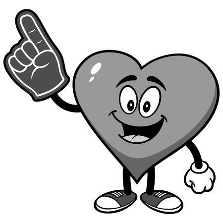 Heart with Foam Finger Illustration Çizim