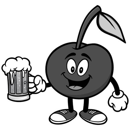 Cherry with Beer Illustration