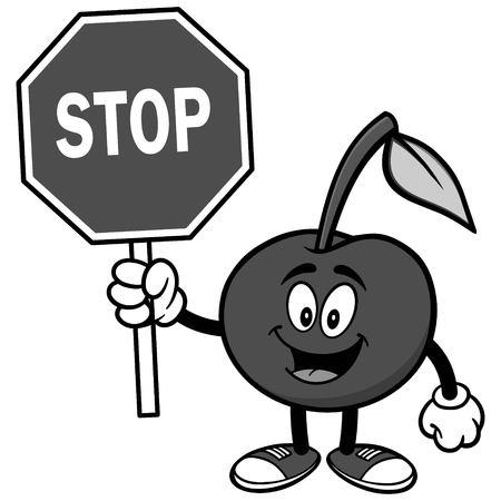 Kers met stopbord illustratie