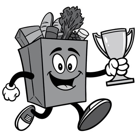 Grocery Bag Running with Trophy Illustration Çizim