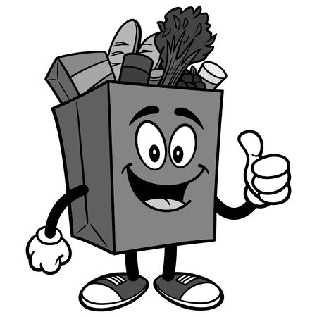 Grocery Bag with Thumbs Up Illustration