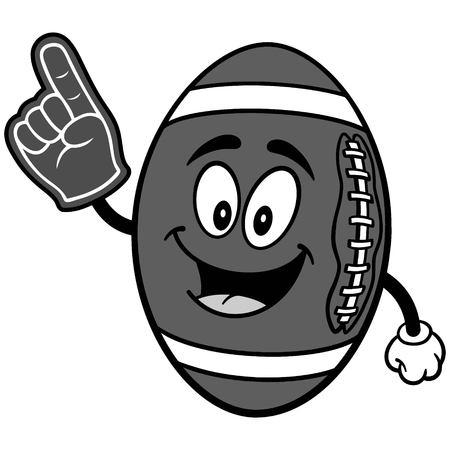 Football Mascot with Foam Finger Illustration Çizim