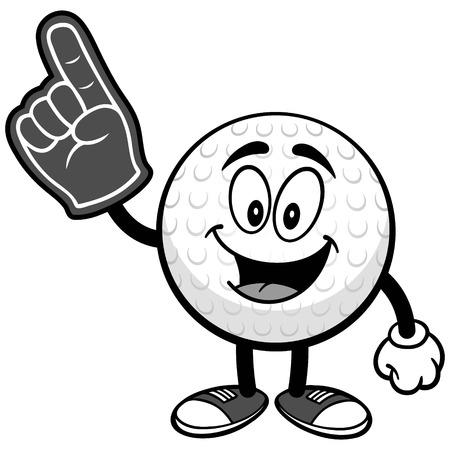 Golf ball with foam finger on white background, vector illustration.