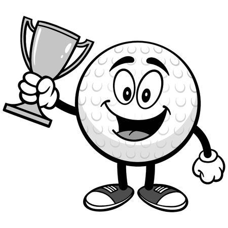 Golf ball with trophy on white background, vector illustration. Ilustração