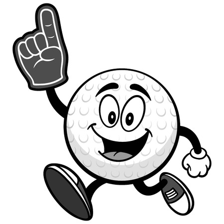 Golf ball running with foam finger on white background, vector illustration.