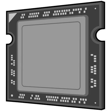 Computer processor icon on white background, vector illustration. Çizim