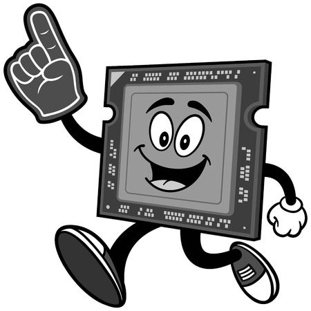 Computer processor running with foam finger on white background, vector illustration. Illustration