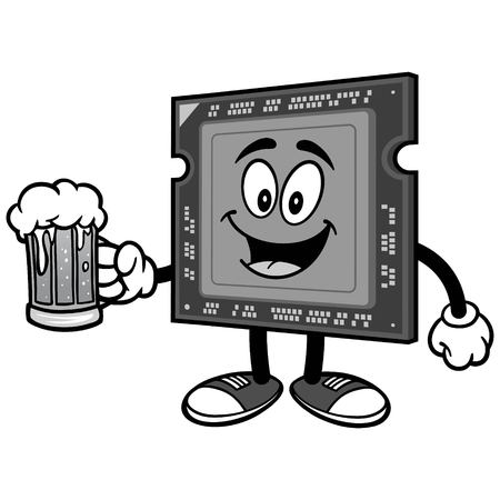 Computer processor with beer on white background, vector illustration.