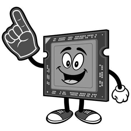 Computer processor with foam finger on white background, vector illustration. Çizim