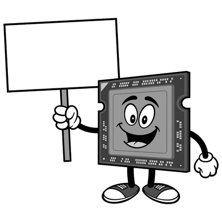 Computer processor with sign on white background, vector illustration. Illustration