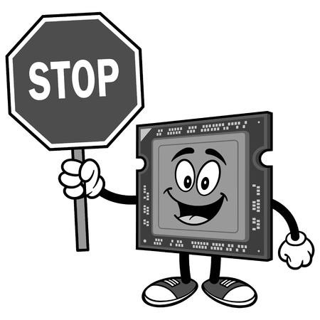 Computer processor with stop sign on white background, vector illustration.